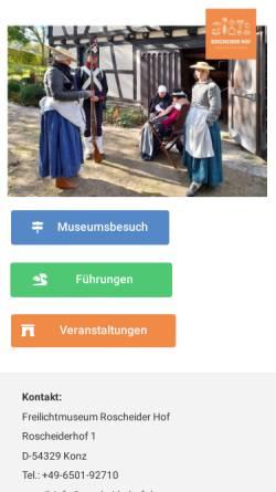 Vorschau der mobilen Webseite www.roscheiderhof.de, Freilichtmuseum Roscheider Hof