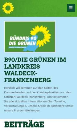 Vorschau der mobilen Webseite www.gruene-waldeck-frankenberg.de, Die Grünen Korbach
