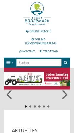 Vorschau der mobilen Webseite www.roedermark.de, Stadt Rödermark