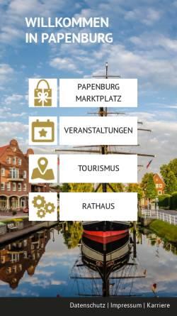 Vorschau der mobilen Webseite www.papenburg.de, Stadt Papenburg