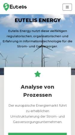 Vorschau der mobilen Webseite www.eutelis.de, Eutelis Energy GmbH