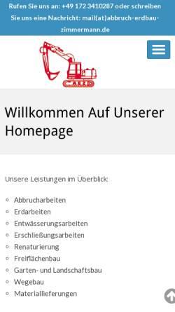 Vorschau der mobilen Webseite www.abbruch-erdbau-zimmermann.de, Abbruch & Erdbau Zimmermann