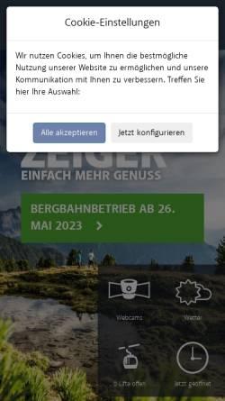 Vorschau der mobilen Webseite www.hochzeiger.com, Bergbahnen Hochzeiger