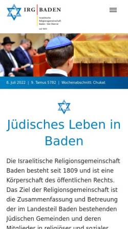 Vorschau der mobilen Webseite www.irg-baden.de, Israelitische Religionsgemeinschaft Baden