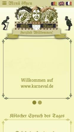 Vorschau der mobilen Webseite www.karneval.de, Kölle Alaaf