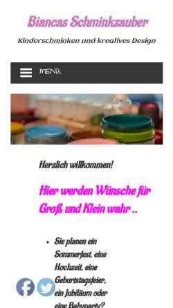 Vorschau der mobilen Webseite www.kinderschminken-neuss.de, Kinderschminken Neuss, Bianca Seidler