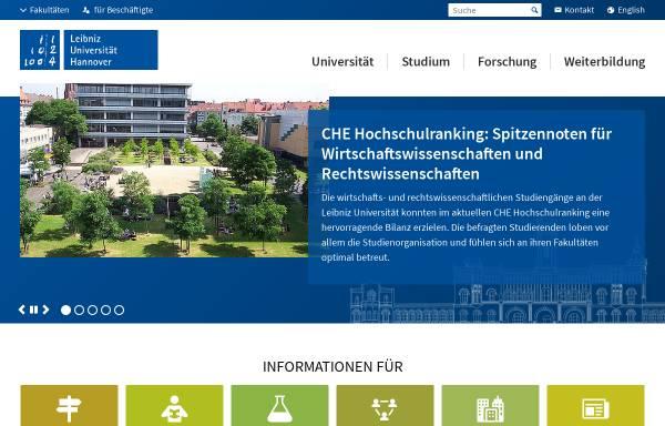 Vorschau von www.uni-hannover.de, Gottfried Wilhelm Leibniz Universität Hannover