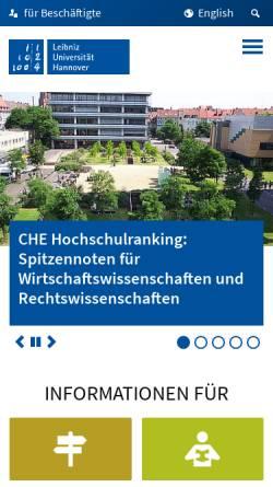 Vorschau der mobilen Webseite www.uni-hannover.de, Gottfried Wilhelm Leibniz Universität Hannover