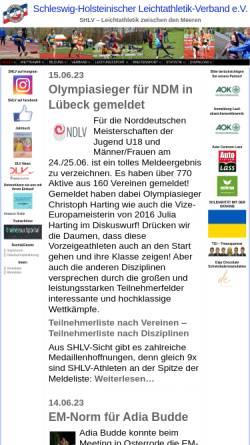 Vorschau der mobilen Webseite www.shlv.de, Schleswig-Holsteinischer Leichtathletik-Verband e.V.