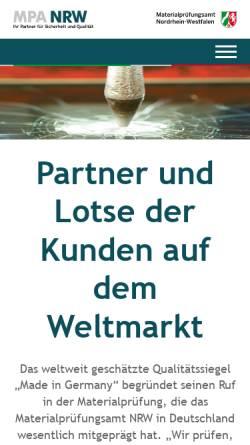 Vorschau der mobilen Webseite www.mpanrw.de, Materialprüfungsamt Nordrhein-Westfalen (MPA NRW)