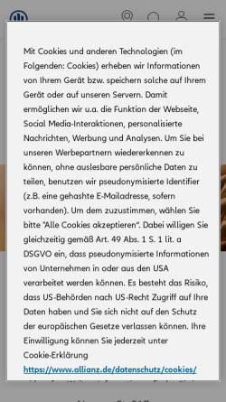 Vorschau der mobilen Webseite vertretung.allianz.de, Allianz Agentur Stefan Paetzold