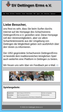 Vorschau der mobilen Webseite www.svdettingen.schachvereine.de, Schachverein Dettingen Erms e.V.