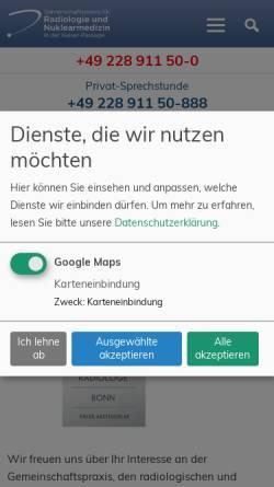 Vorschau der mobilen Webseite www.radiologie-nuklearmedizin-bonn.de, Gemeinschaftspraxis für Radiologie und Nuklearmedizin