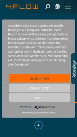 Vorschau der mobilen Webseite www.4flow.de, 4flow AG - Beratungs- und Softwareunternehmen