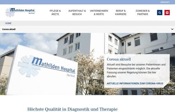Vorschau von www.mathilden-hospital.de, Mathilden Hospital