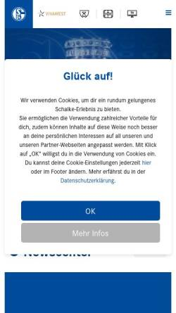 Vorschau der mobilen Webseite schalke04.de, FC Schalke 04