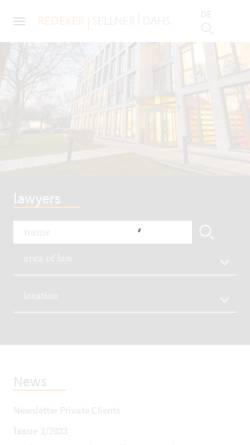 Vorschau der mobilen Webseite www.redeker.de, Redeker Sellner Dahs