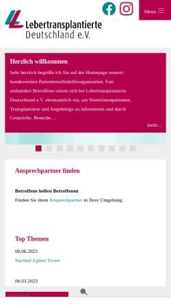 Vorschau der mobilen Webseite www.lebertransplantation.eu, Selbsthilfe Lebertransplantierter Deutschland e.V.