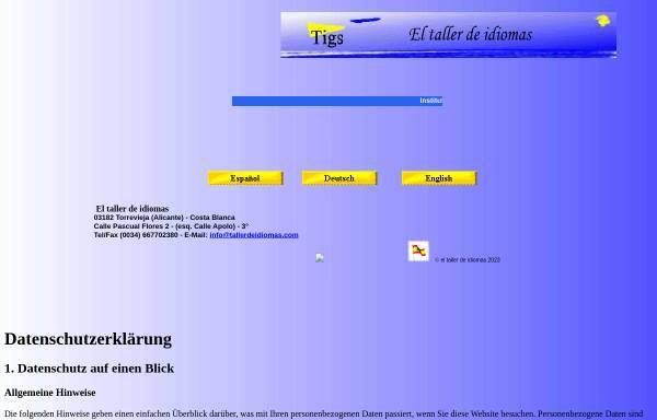 Vorschau von www.tallerdeidiomas.com, El taller de idiomas