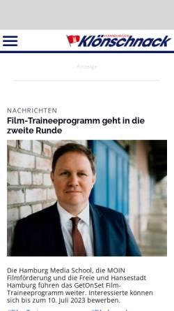 Vorschau der mobilen Webseite www.kloenschnack.de, Klönschnack