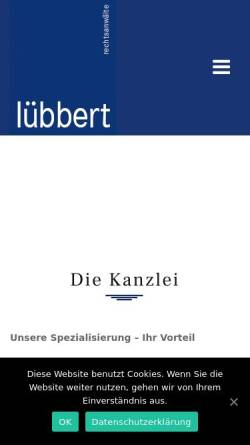 Vorschau der mobilen Webseite www.raeluebbert.de, Lübbert, Haaf, Beeretz, Berst & Kollegen