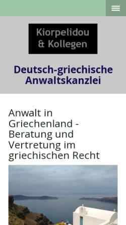 Vorschau der mobilen Webseite www.dikigoros.de, Deutsch-griechische Anwaltskanzlei Kiorpelidou & Kollegen