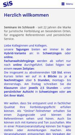 Vorschau der mobilen Webseite www.seminare-im-schloss.de, Seminare im Schloss - Heiner Kranz, Schwetzingen