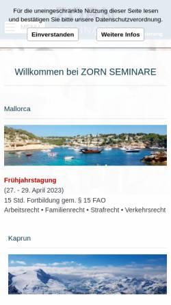 Vorschau der mobilen Webseite www.zorn-seminare.de, Zorn-Seminare