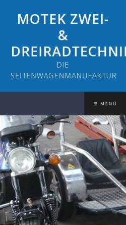 Vorschau der mobilen Webseite www.motek-gespannbau.de, Motek Zwei & Dreiradtechnik