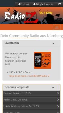 Vorschau der mobilen Webseite www.radio-z.net, Radio Z