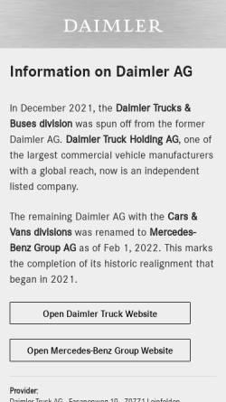 Vorschau der mobilen Webseite www.daimler.com, Daimler