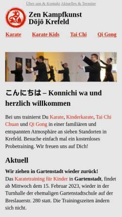 Vorschau der mobilen Webseite www.zen-kampfkunst-krefeld.de, Zen Kampfkunst Dojo Krefeld