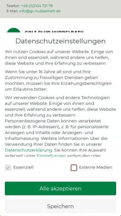 Vorschau der mobilen Webseite www.gc-hubbelrath.de, Golf Club Hubbelrath