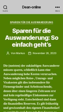 Vorschau der mobilen Webseite www.dean-online.de, Deutsch-Australisches Netzwerk (DeAN) e.V.