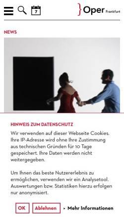Vorschau der mobilen Webseite oper-frankfurt.de, Oper Frankfurt