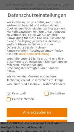 Vorschau der mobilen Webseite www.hohner-konservatorium.de, Hohner-Konservatorium Trossingen GmbH