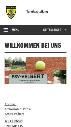Vorschau der mobilen Webseite www.psv-tennis.de, PSV Velbert