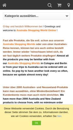 Vorschau der mobilen Webseite www.australiashop.com, Australia Shopping World GmbH