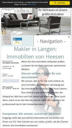 Vorschau der mobilen Webseite www.immo-vonheesen.de, Immobilien von Heesen