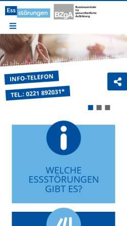 Vorschau der mobilen Webseite www.bzga-essstoerungen.de, BZgA - Essstörungen