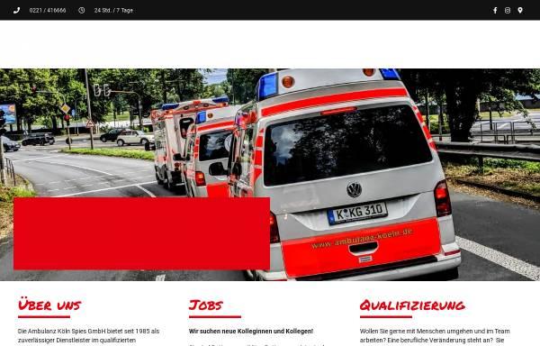 Vorschau von www.ambulanz-koeln.de, Ambulanz Köln - Krankentransporte Spies KG