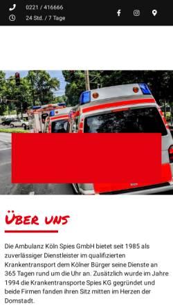 Vorschau der mobilen Webseite www.ambulanz-koeln.de, Ambulanz Köln - Krankentransporte Spies KG
