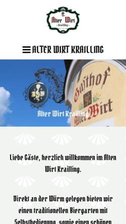 Vorschau der mobilen Webseite www.alterwirtkrailling.de, Gasthof Alter Wirt