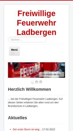 Vorschau der mobilen Webseite www.feuerwehr-ladbergen.de, Freiwillige Feuerwehr Ladbergen