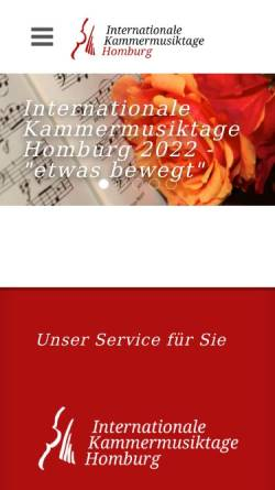Vorschau der mobilen Webseite www.kammermusik-homburg.de, Kammermusikfreunde Saar Pfalz e.V.