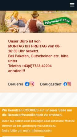 Vorschau der mobilen Webseite www.wurmhoeringer.at, Privatbrauerei - Gasthaus - Transporte Wumrhöringer