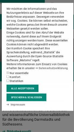 Vorschau der mobilen Webseite www.ulb.tu-darmstadt.de, Universitäts- und Landesbibliothek Darmstadt
