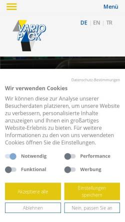 Vorschau der mobilen Webseite www.variopack-borchert.de, Vario Pack Borchert GmbH