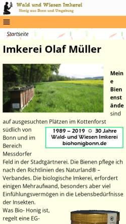 Vorschau der mobilen Webseite www.biohonigbonn.de, Wald und Wiesen Imkerei Müller