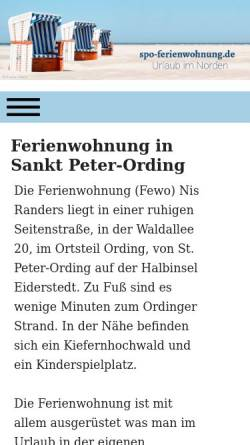 Vorschau der mobilen Webseite www.spo-ferienwohnung.de, Familie Runge